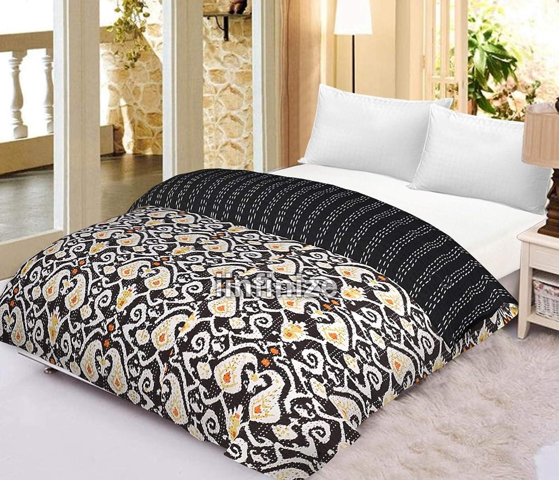Grey Elephant Indian Baby Kantha Quilt Bedspread Blanket Bedding Throw Handmade