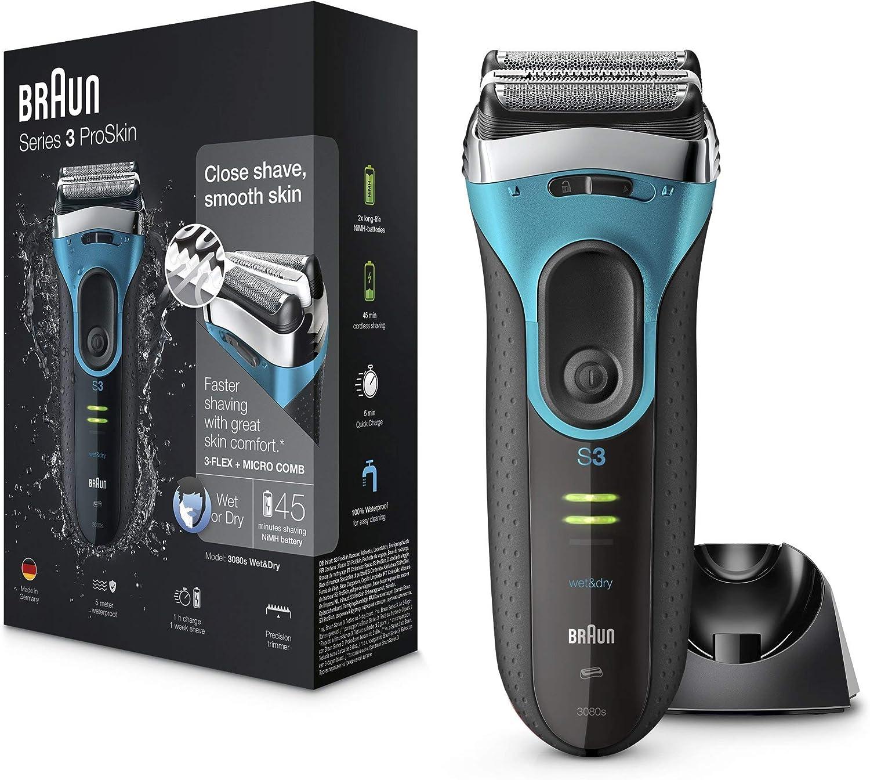 Braun Series3 ProSkin 3080 s - Afeitadora Eléctrica Hombre, Afeitadora Barba Inalámbrica y Recargable, Wet&Dry, Máquina de Afeitar, Recortadora de Precisión Extraíble, Negro y Azul + Base de Carg