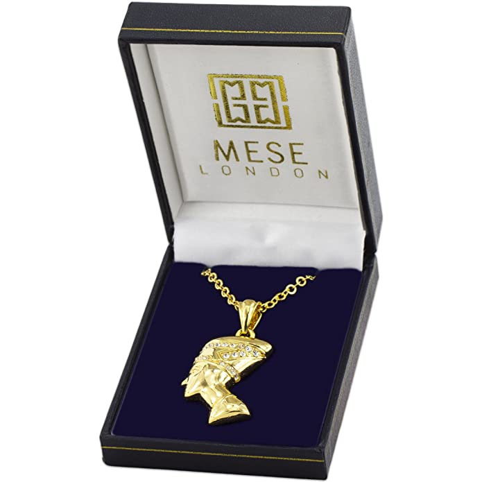 MESE London Elephants With African Map Necklace 18ct Gold Plated/ Platinum Plated Chain Africa Continent Pendant - Elegant Gift Box L7KbeLXPwL