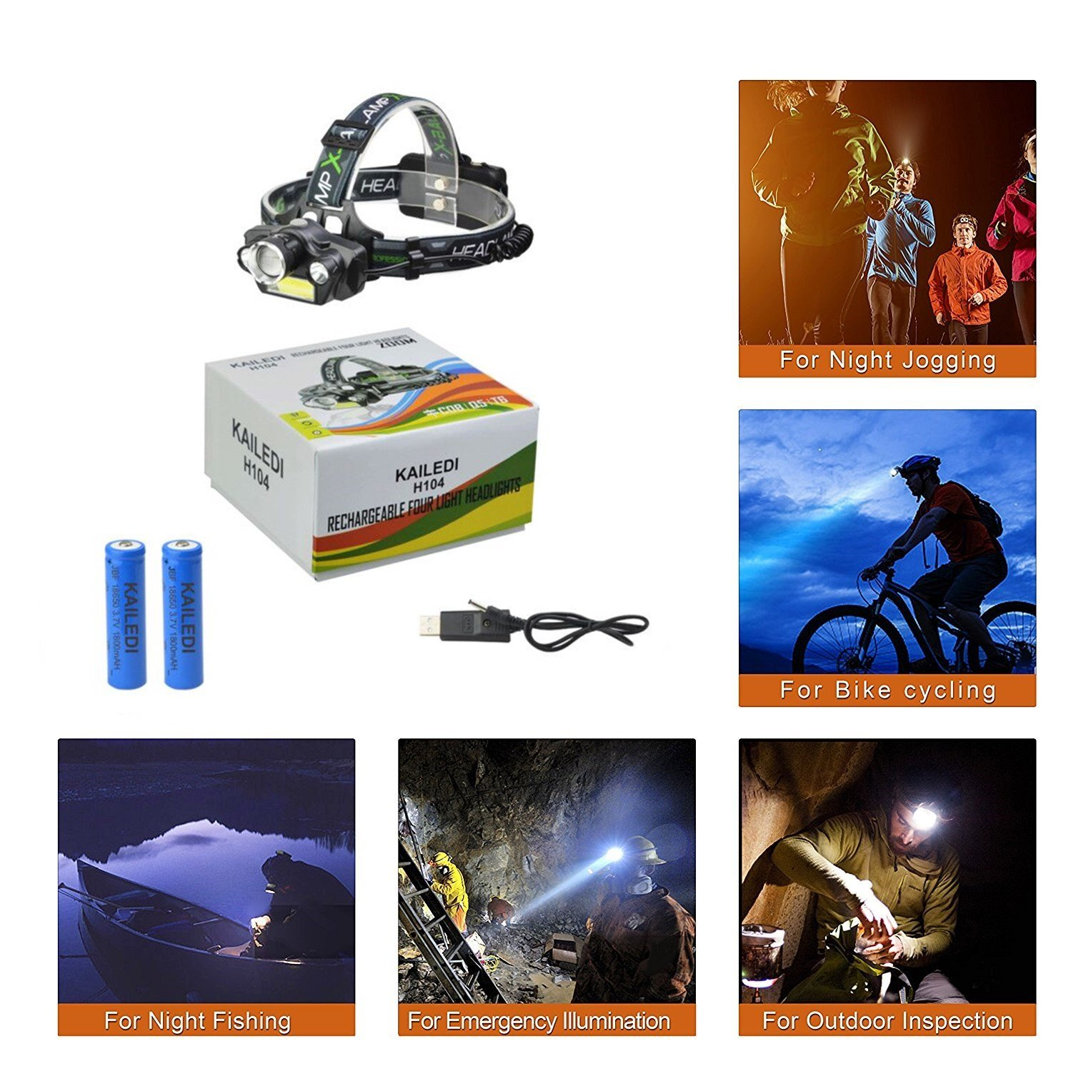LED Headlamp Flashlight, USB Rechargeable LED Headlamp- Waterproof & Comfortable Headlight, Battery Powered Helmet Light, 8000 Lumen 4 Light 5 Modes Super Bright by KAILEDI. (Image #7)