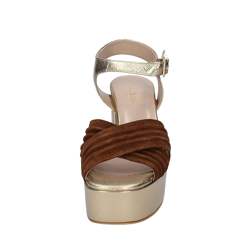 LE MARINE Sandalen Damen Damen Damen Leder Gold 90c52e