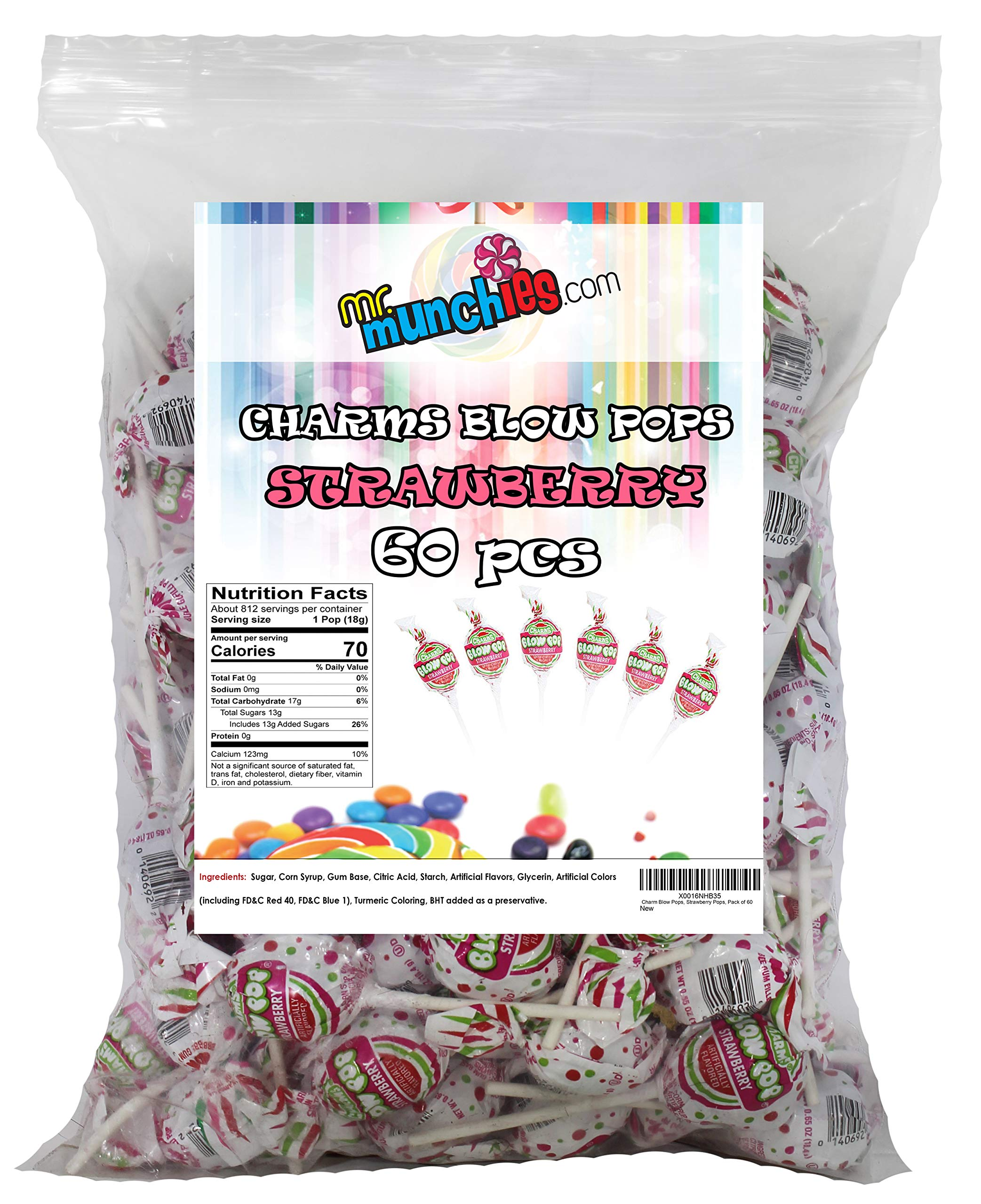 Charm Blow Pops, Strawberry Pops, Pack of 60 by Blow Pops