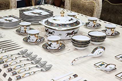 Royalty Porcelain Greek Key Horse Cheval 75-pc Large Dinner and Sushi set Service & Amazon.com | Royalty Porcelain Greek Key Horse Cheval 75-pc Large ...