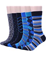ADFOLF Men's Argyle Patterned Casual Business Long Crew Dress Socks, Pack of 6