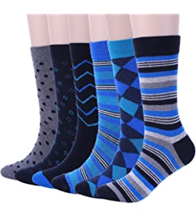 Mens Blue Dress Crew Socks, 6 Pair Funky Argyle Socks with Stripe Patterned Designs