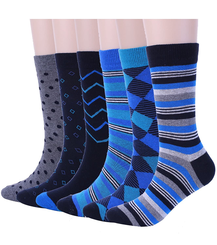 Mens Blue Dress Crew Socks, 6 Pair Funky Argyle Socks with Stripe Patterned Designs One Size