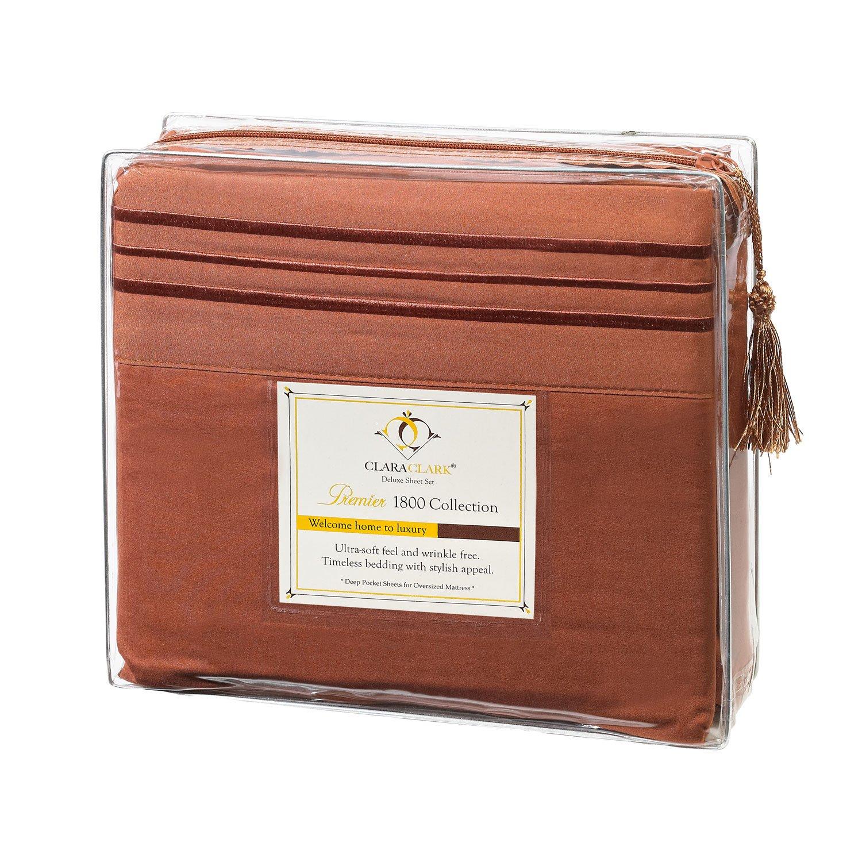 3pc Bed Sheet Set - Twin (Single) Size, Burnt Sienna (Rust, Orange Brown