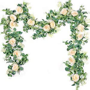 Der Rose 2Pack 13ft Artificial Eucalyptus Flower Garland with Fake Silk Rose Flower Vine Eucalyptus Leaves Greenery Garland for Wedding Arch Table Decor (Champagne)