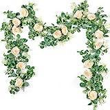 Der Rose 2Pack 13ft Artificial Eucalyptus Flower Garland with Fake Silk Rose Flower Vine Eucalyptus Leaves Greenery…