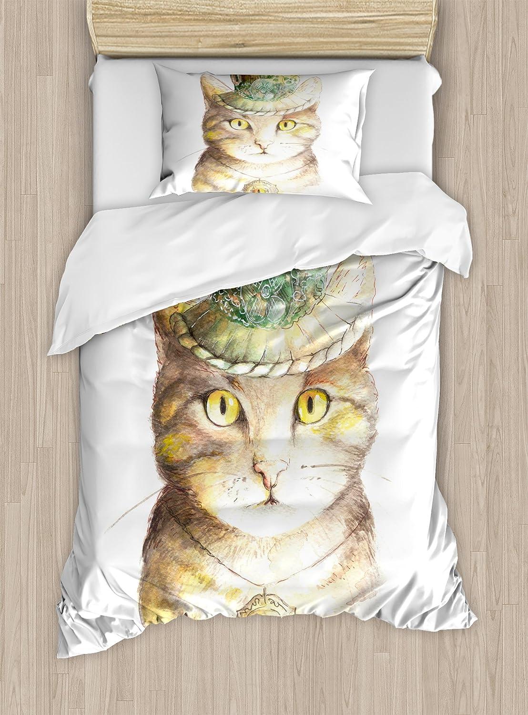 猫好きインテリア布団カバーセットby Ambesonne、Spiritual猫、帽子とオカルトEye CollarグランジケルトTrickテーマ、装飾寝具セットwithピロー、イエローグレー TWIN / TWIN XL nev_21376_twin B075LSD9G3 TWIN / TWIN XL|マルチ1 マルチ1 TWIN / TWIN XL