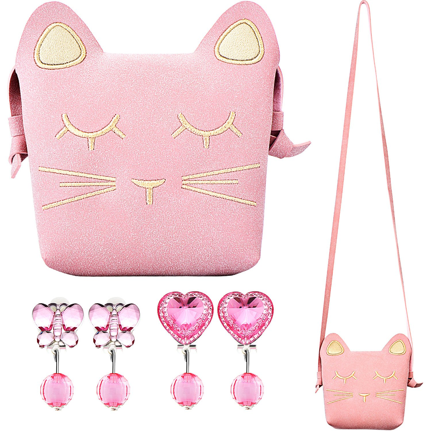 Maxdot Little Girls Purse Pink Cute Cat Crossbody Bag Handbag with 2 Pairs Clip on Earrings Jewelry for Kids and Toddlers