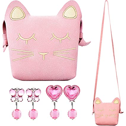 c7acf8831b Image Unavailable. Image not available for. Color  Maxdot Little Girls Purse  Pink Cute Cat Crossbody ...