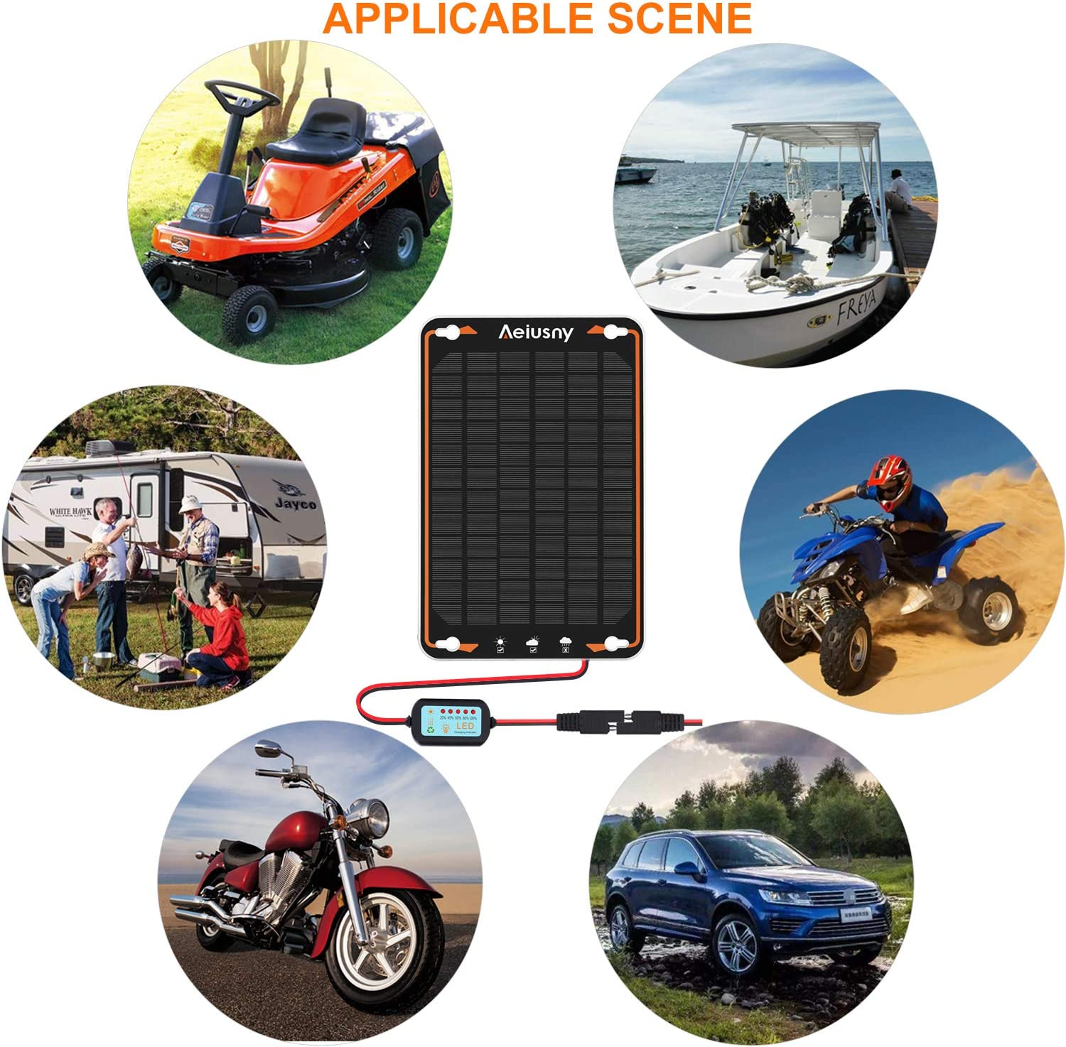 Aeiusny 12V Solar Car Battery Trickle Charger & Maintainer 5W Solar Panel Power Kit Portable Backup for Automotive RV Marine Boat Motorcycle Truck Trailer Tractor Powersports Snowmobile Farm Equipment: Automotive