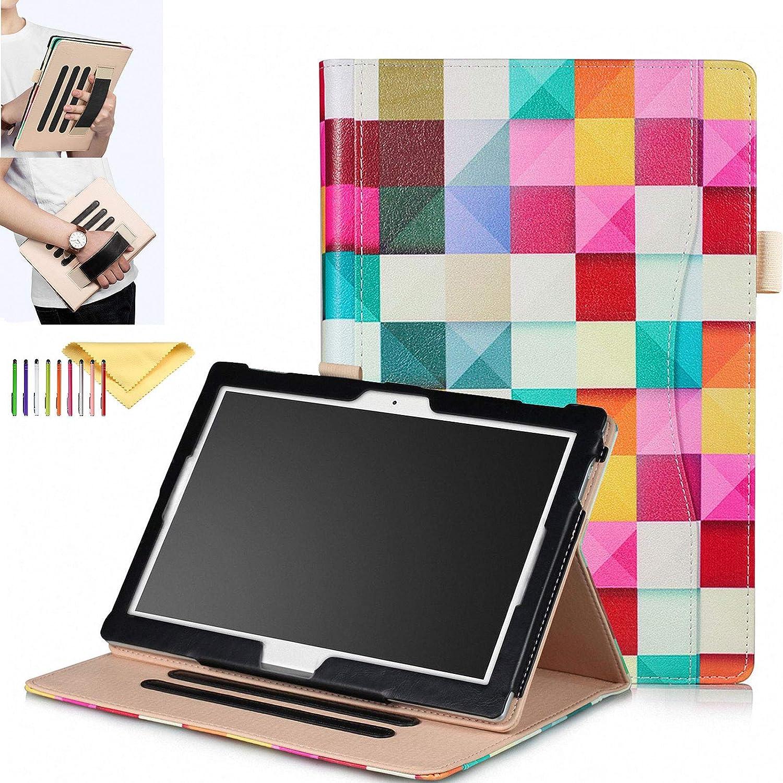 "10.1 Inch Universal Case for Lenovo Tab E10 TB-X104F / Lenovo Tab 4 10 / Tab4 10 Plus 10""/ Moto Tab TB-X704A, Cookk [Hand Strap] [Front Pocket] [Auto Sleep/Wake] Multifunctional Stand Cover, Cube"
