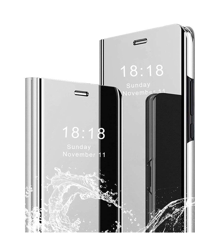MLOTECH Coque Xiaomi Redmi Note 5 Flip Clear View Translucide Miroir Cover + Verre trempé Film Protecteur Standing 360°Housse étui Antichoc Smart Cover Bumper Bleu Ciel