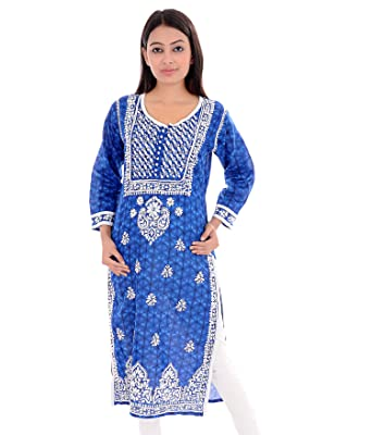 99bce1a5408f01 ACC-Tunic Top Lucknow Chikan Hand Embroidery Indian Kurti for Women ...