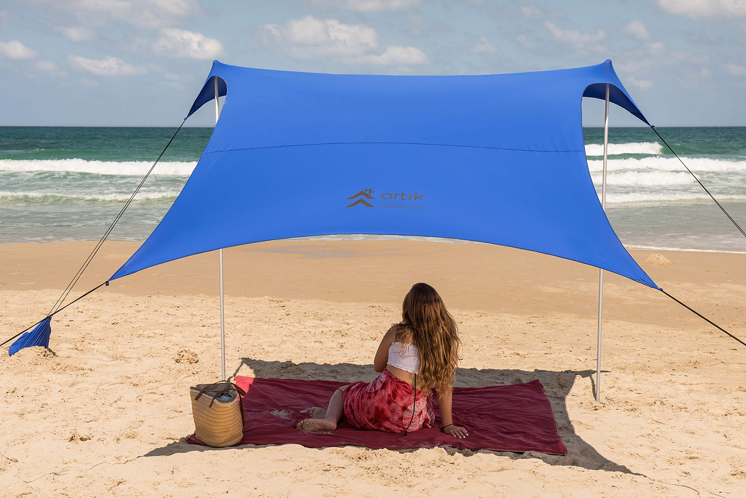 Family Beach Tent Canopy Sunshade with Sandbag Anchors - Simple & Versatile. SPF50, Lycra Sun shelter for The Beach,Camping and Outdoors (Blue, Large) by ARTIK SUNSHADE