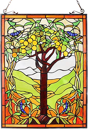 Capulina Hand-Crafted Stained Glass Window Hangings, Beautiful Apple Tree Tiffany Stained Glass Window Panels, Ideas for Stained Glass Panels Brighter, Tiffany Style Stained Glass Window Panels