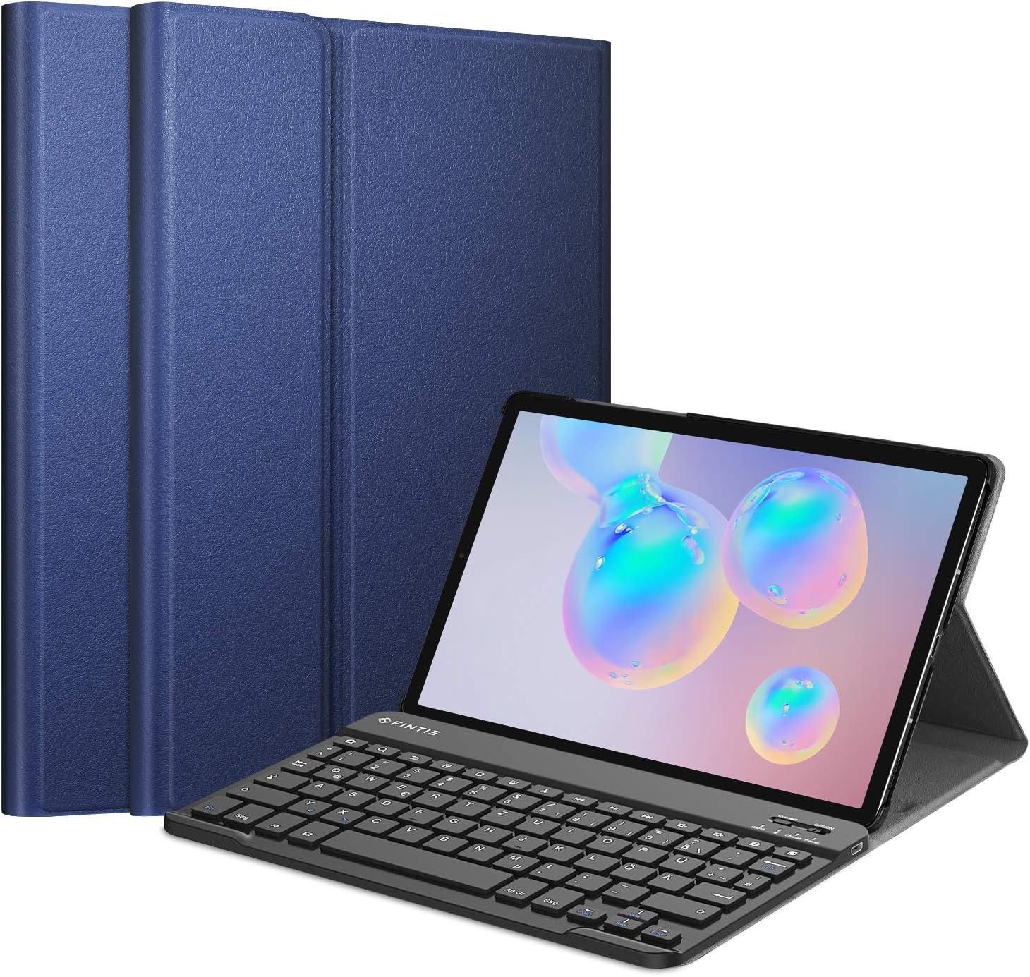 Funda con teclado Fintie para Samsung Galaxy Tab S6 10.5 2019 (compatible con S Pen función de carga inalámbrica) – Teclado ultrafino con teclado magnético extraíble inalámbrico alemán