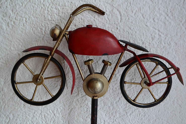 Gartenstecker Regenmesser - rotes Motorrad-, Höhe ca. 125 cm aus Metall , stabile Ausführung, frostsicher stabile Ausführung maiso