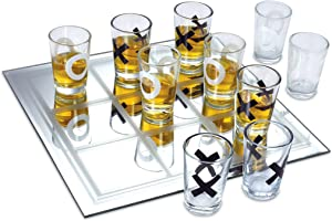 KOVOT Shot Glass Tic Tac Toe Game – 10 FULL-SIZED Shot Glasses Included