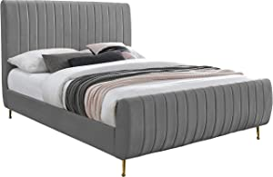Meridian Furniture Zara Collection Modern | Contemporary Velvet Upholstered Bed with Deep Channel Tufting and Custom Gold Legs, Full, Grey