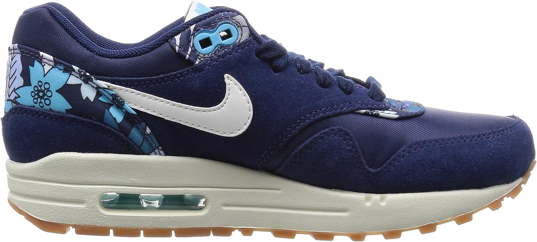 Nike Air Max 1 Print, dames Low-Top Sneakers blauw (Midnight Navy/Sl-midnight Navy-td Pl Blue)