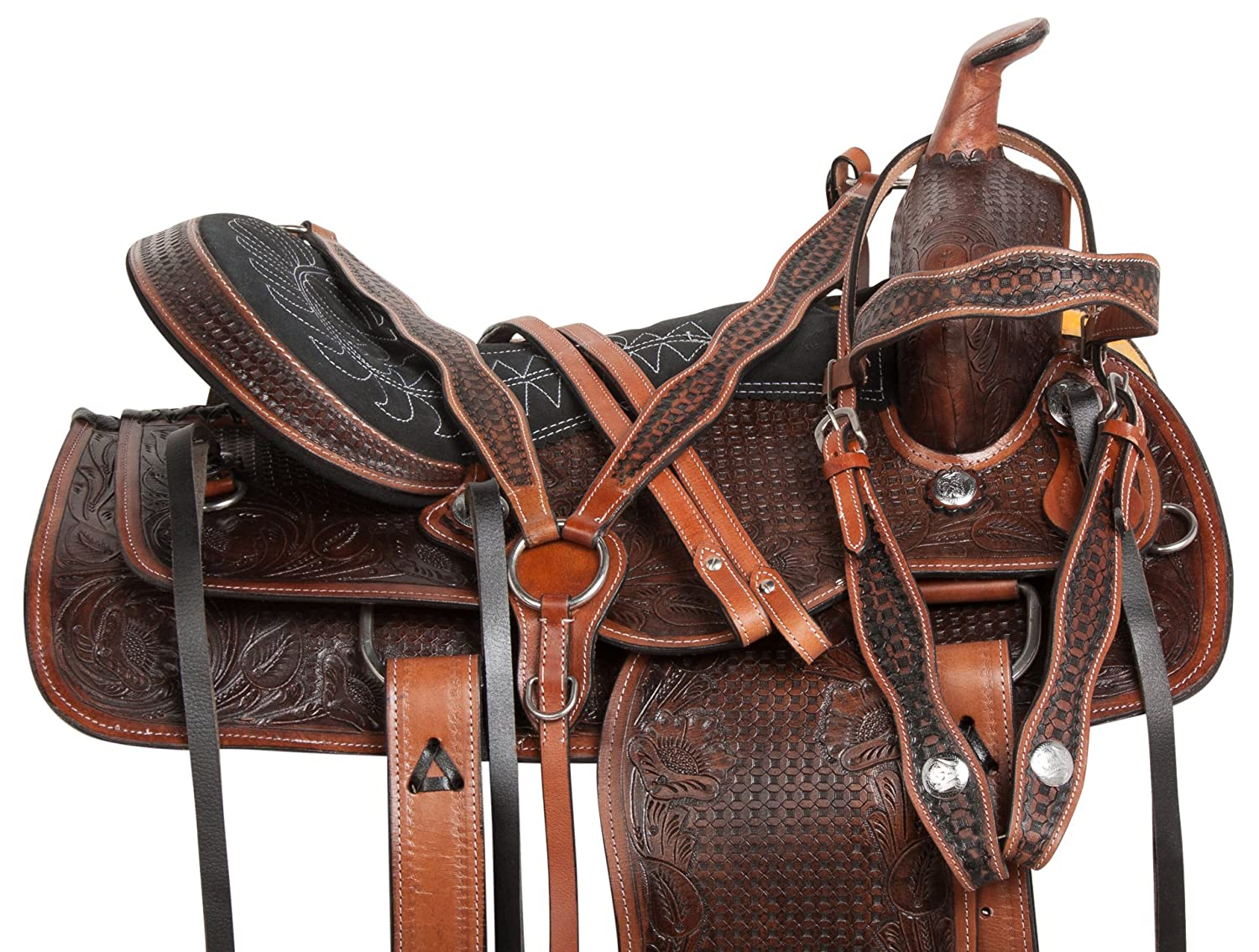 15 16プレミアム手工具Westernレザーranching Pleasure Trail HorseサドルBridle Breastplate手綱 15  B07B8RSDJL