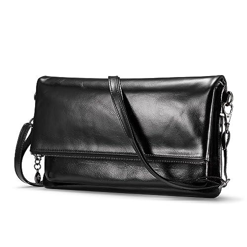 a7576d29ed3c Womens Genuine Leather Clutch Handbags  6 Card Slots  Purse with Strap Crossbody  Messenger Bag