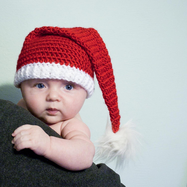 241fe418b Amazon.com: Crochet Baby Santa Hat With Faux Fur Pom: Handmade