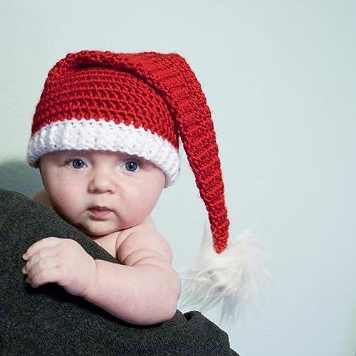 Amazon.com  Crochet Baby Santa Hat With Faux Fur Pom  Handmade 52d706d35f7