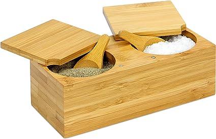 Bois Sel Pot avec couvercle-Placage cuisine Sel//Poivre Pot