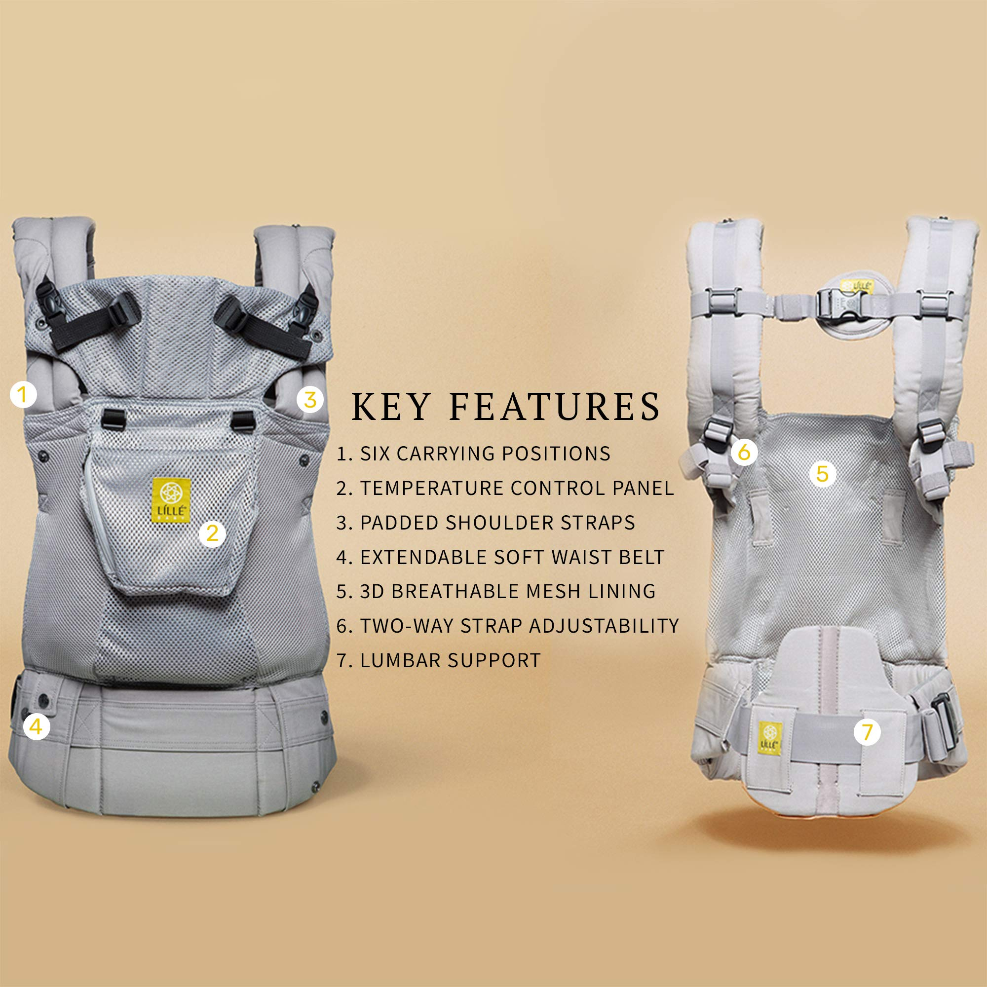 Lillebaby The Complete Airflow 360° Ergonomic Six-Position Baby & Child Carrier, Silver by LILLEbaby (Image #3)