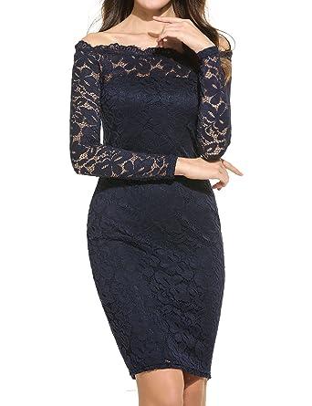e66f93aa625 BEAUTYTALK Women s Off Shoulder Lace Dress Long Sleeve Bodycon ...