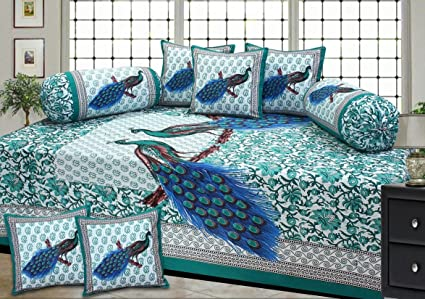 Fresh From Loom Traditional 8 Piece 150 TC Cotton Diwan Set - Green