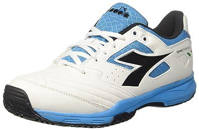 S.Challenge AG, Chaussures de Tennis Mixte Adulte, Bianco (Bianco/Nero/Blu Fluo), 42 EUDiadora