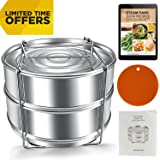 Stackable Steamer Insert Pans for 6 8 Quart Instant Pot & Pressure Cooker - 2 Tier Stainless Steel Pans - Dishwater Safe - Pot in Pot Accessories to Steam, Bake, Reheat - Cook Recipes Included