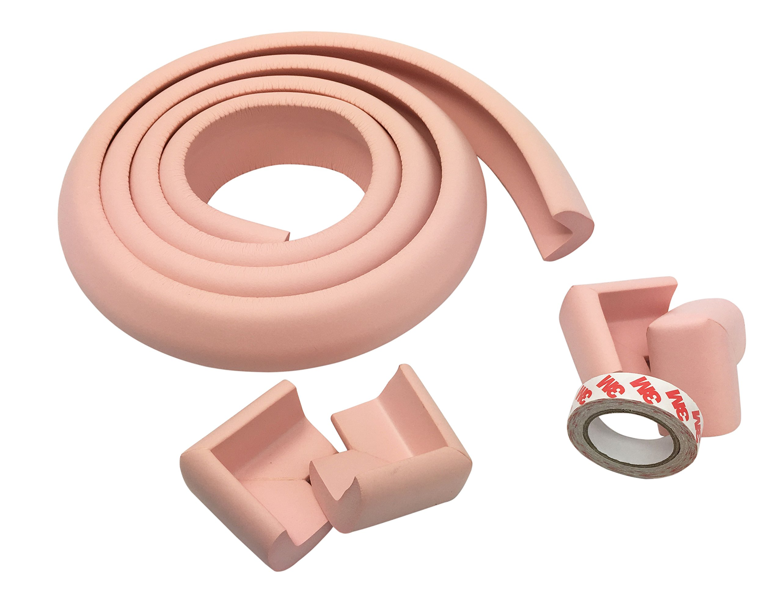 Foam High Density Furniture Table Edge Protector and Corner Protectors(Pack of 4) for Baby Safety Bumper Guard Set 6.5 Feet (2 Meter) (Pink)
