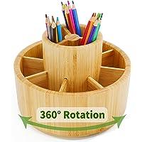 Bamboo Rotating Art Supply Desk Organizer,Pencil Holder Organizer, Desktop Storage Caddy for Pen,Colored Pencil,Crayon…