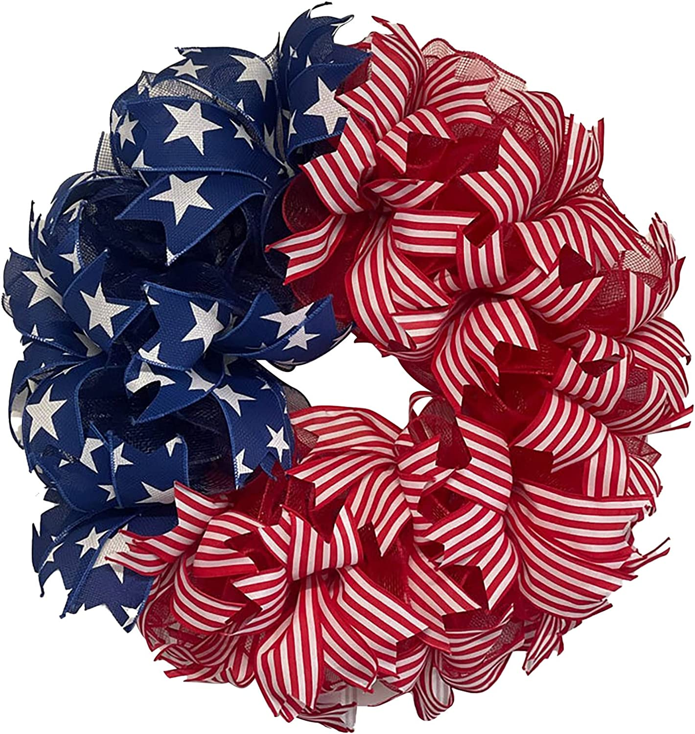 4th of July Decorations Wreath Outdoor Decor Patriotic Independence Day Front Door Wreaths Outside Porch Hanging Decoration for Spring Summer Holiday (F)