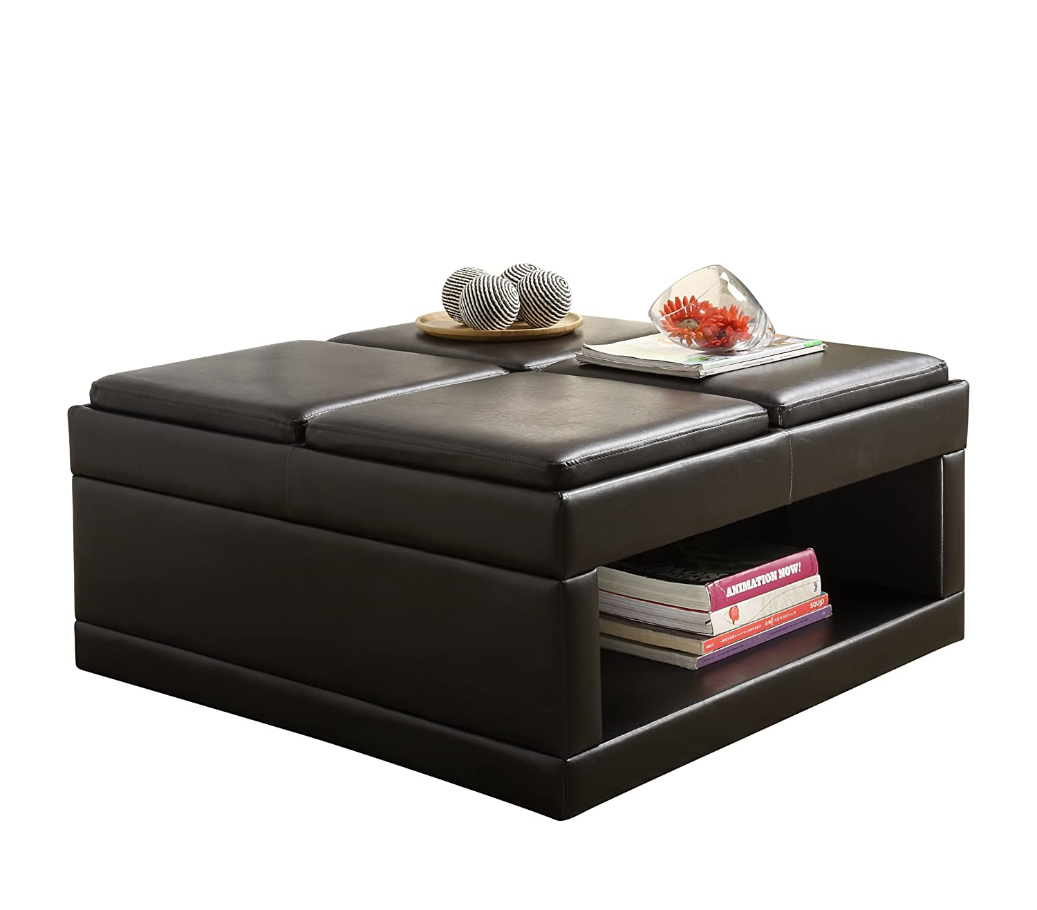 Charmant Amazon.com: Homelegance 4732PU Castered Cocktail Ottoman Table, Dark Brown  Faux Leather: Kitchen U0026 Dining