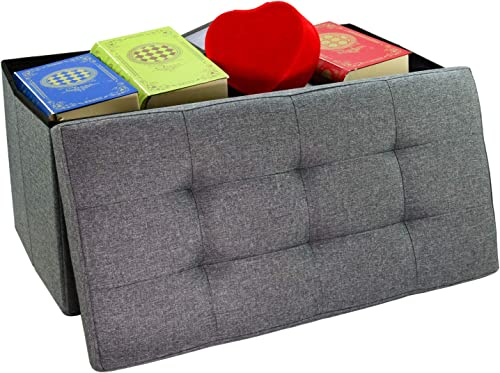 30inches Foldable Storage Ottoman Bench Foot Rest Stool