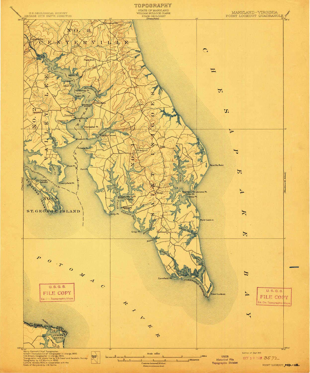 Amazon Com Yellowmaps Point Lookout Md Topo Map 1 62500 Scale 15