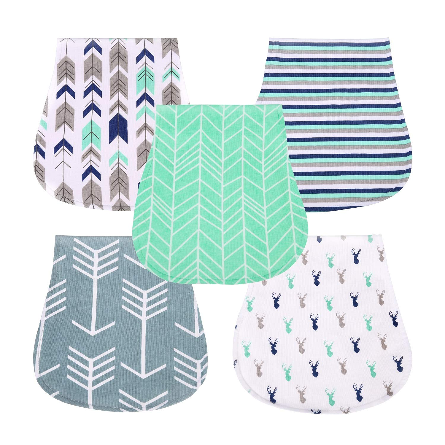 OWMMIZ Baby Burp Cloths for Boys and Girls, Organic Cotton for Baby Toddler Teething Showers Gift Set Pack of 5