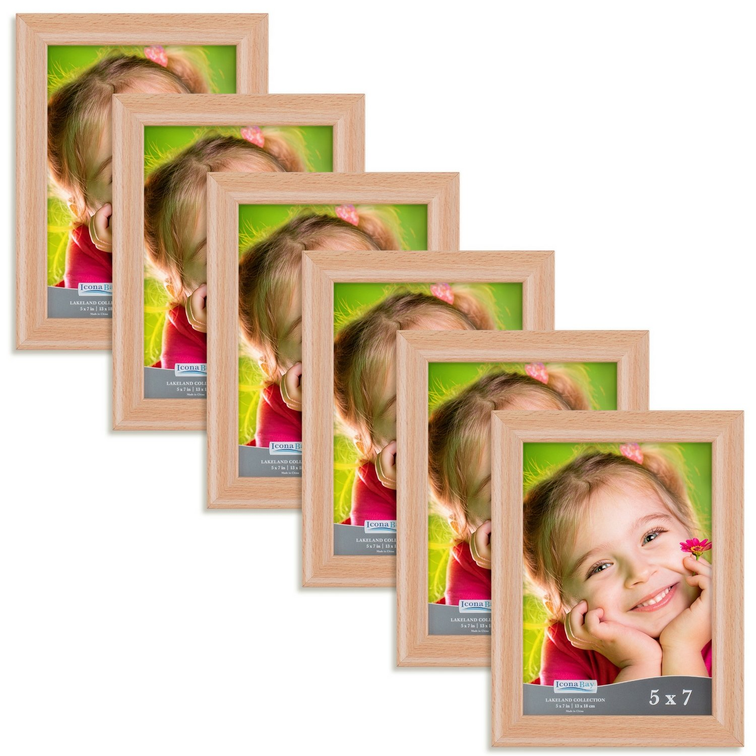 Icona Bay 5x7 Picture Frames 5x7 (6 Pack, Beechwood Finish), Vintage Frames, Wooden Picture Frame, Frames for Wall or Table, 5 x 7 Frames for Family, Dog, Or Baby, Lakeland Collection
