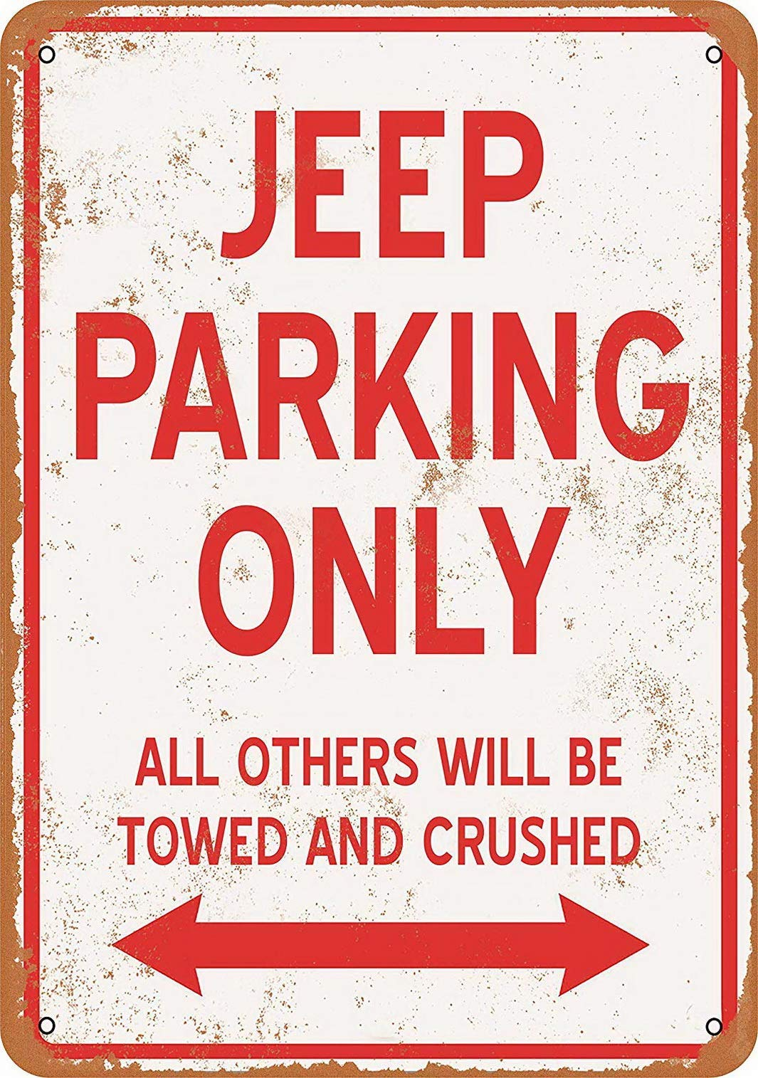Dafony Jeep Parking Only Wall Metal Poster Retro Plaque Warning Tin Sign Vintage Iron Painting Decoration Funny Hanging Crafts for Office Bedroom Living Room Club