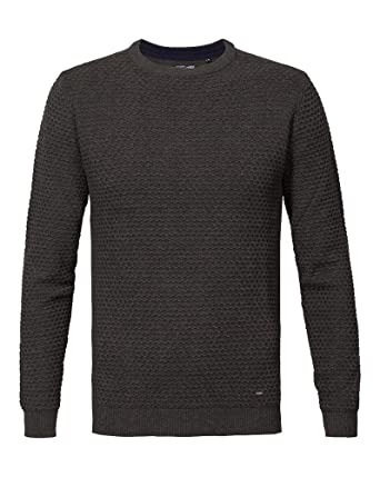 BLZ Jeans - Pullover Homme Fine Maille Relief Anthracite - Couleur  Gris -  Taille  756dea930cdb