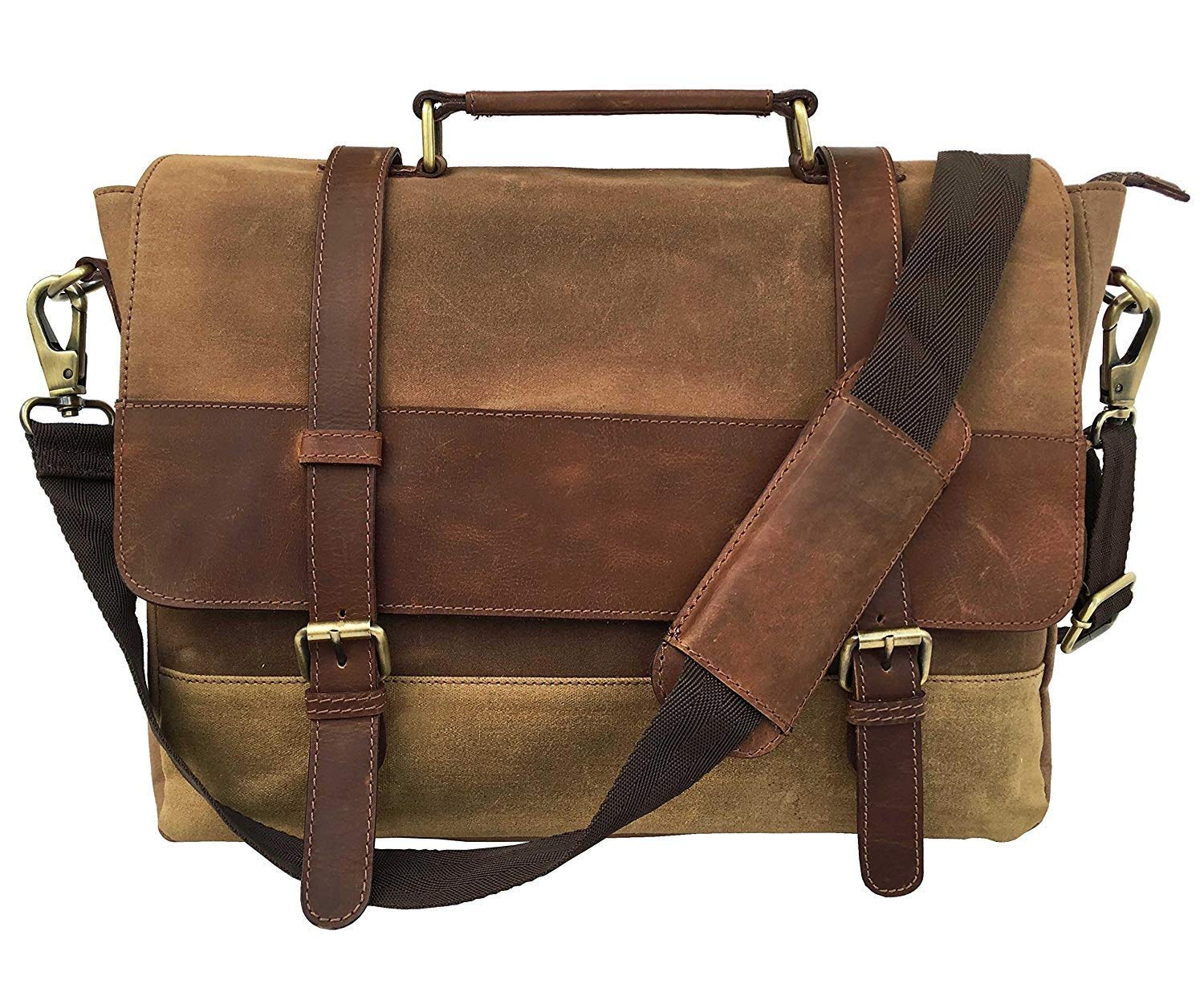 Leather Castle Messenger Bag/Vintage Leather Canvas Crossbody Shoulder Bag/15.6 Inch Laptop Satchel Briefcase Bag (Walnut Brown)