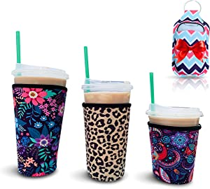 3 Reusable Insulated Neoprene Iced Coffee Cup Sleeves Small, Medium, Large for Cold & Hot Beverages for Dunkin Donuts, Starbucks Coffee, McDonalds, and More with Hand Sanitizer Holder