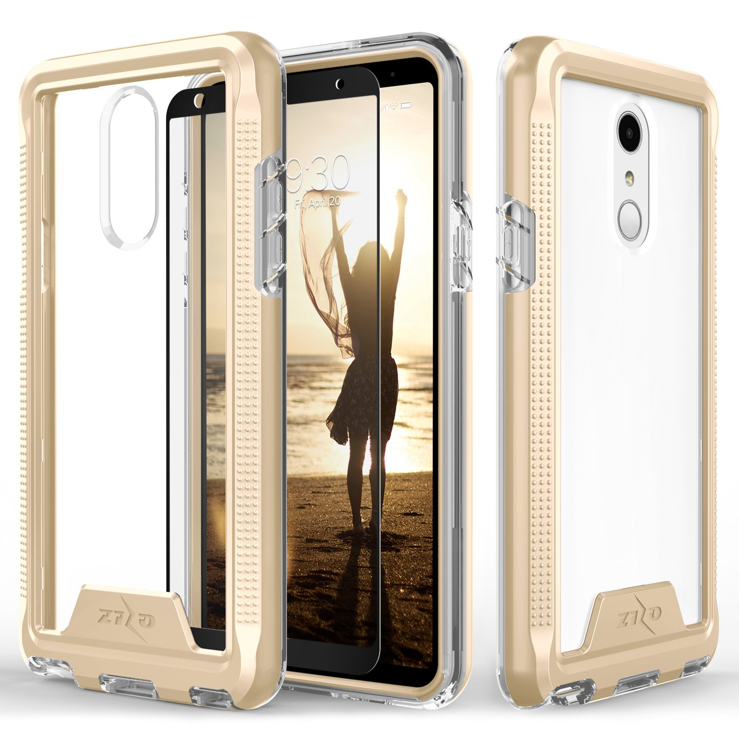 Zizo ION Series compatible with LG Stylo 4 Case Military Grade Drop Tested with Tempered Glass Screen Protector GOLD CLEAR